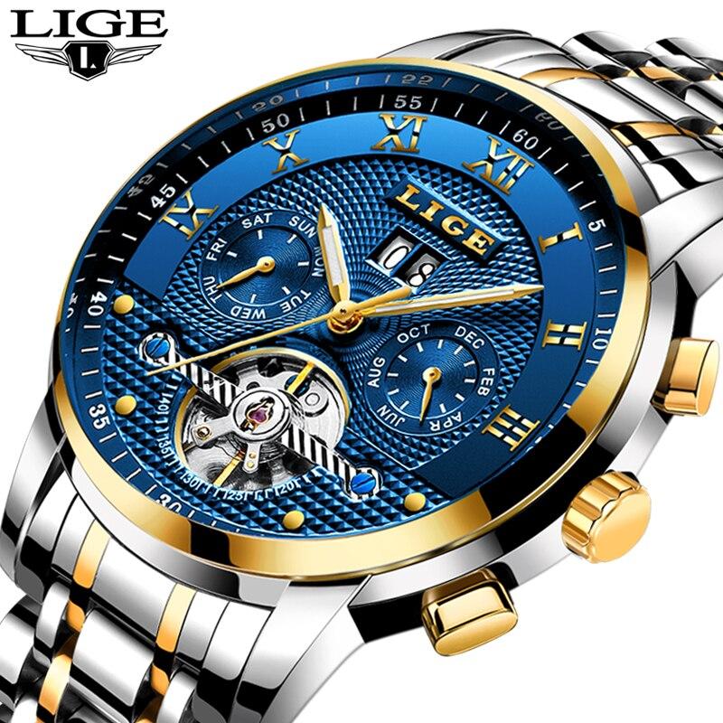 Relogio Masculino LIGE Mens relojes Top marca de lujo hombres reloj mecánico automático de acero de negocios impermeable relojes deportivos