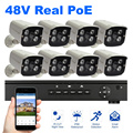 8PCS Camera POE NVR kit 1080P Resolution 48V Surveillance Security System 2MP Outdoor Camera Night Vision Power Over Ethernet