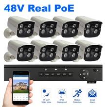 8 STÜCKE Kamera POE NVR kit 1080 P Auflösung 48 V Überwachung-sicherheitssystem 2MP Outdoor Kamera Nachtsicht Power über Ethernet