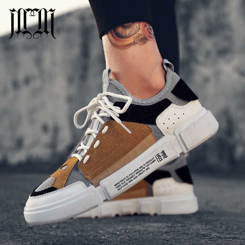 7f5e254f81aa7 MumuEli New 2019 Mix Brown Gray Blue Men Shoes Breathable Casual Fashion  Luxury Designer Sneakers High
