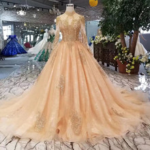 LS11026G luxury queen evening dresses with golden beads high neck long tulle sleeves party dress long A-line ladies shiny dress(China)