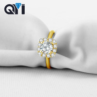 QYI Rings For Women Fashion Style 14K Solid Yellow Gold Sona Simulated Diamond Wedding Engagement Band Rings Gift Jewelry