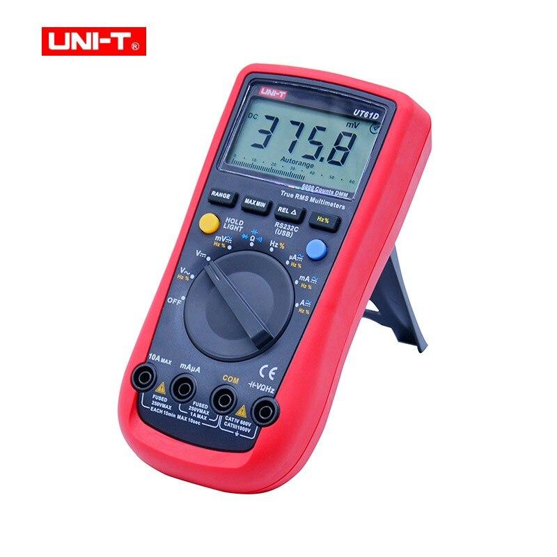 Multímetro Digital UNI-T UT61D RMS auténtico rango automático 6000 cuenta multímetros digitales modernos ACDC medidor CD retroiluminación