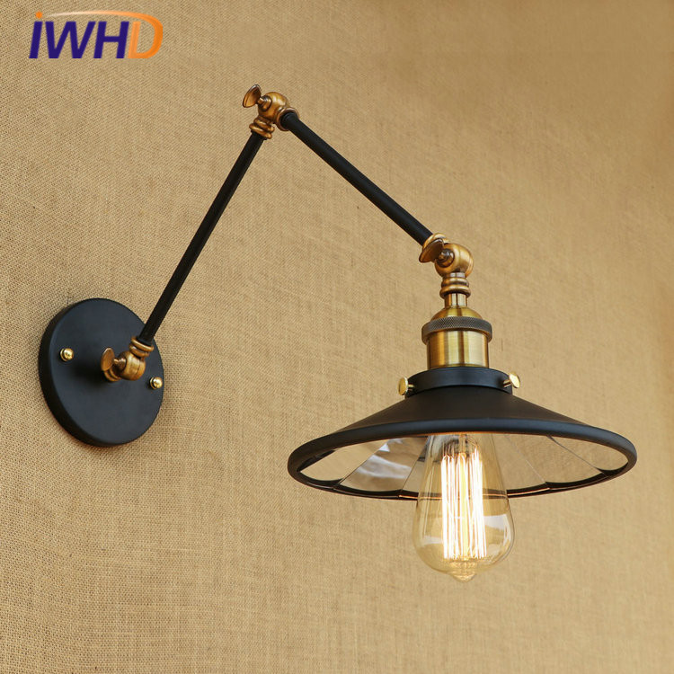 IWHD Industrial Vintage Loft LED Wall Light Lens Rocker Arm Wall Lamp Retro Bed Lamp Fixtures Home Lighting Iluminacion ParedIWHD Industrial Vintage Loft LED Wall Light Lens Rocker Arm Wall Lamp Retro Bed Lamp Fixtures Home Lighting Iluminacion Pared