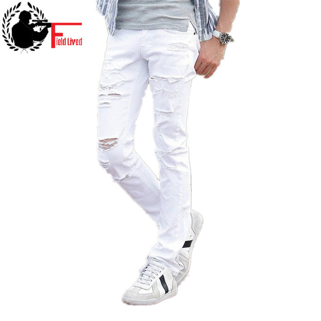 2016 New White Ripped Jeans Men With Holes Fashion Skinny Famous