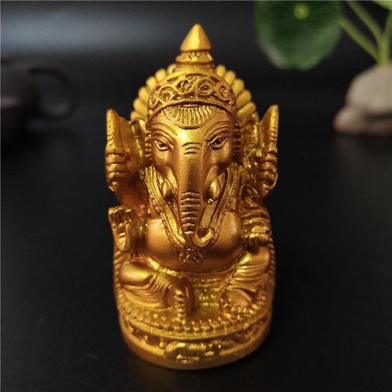 Gold Ganesha Buddha Statue Elephant God Sculpture Ganesh Figurines For Garden Home Decoration Accessories Statues 6cm/2.36inch