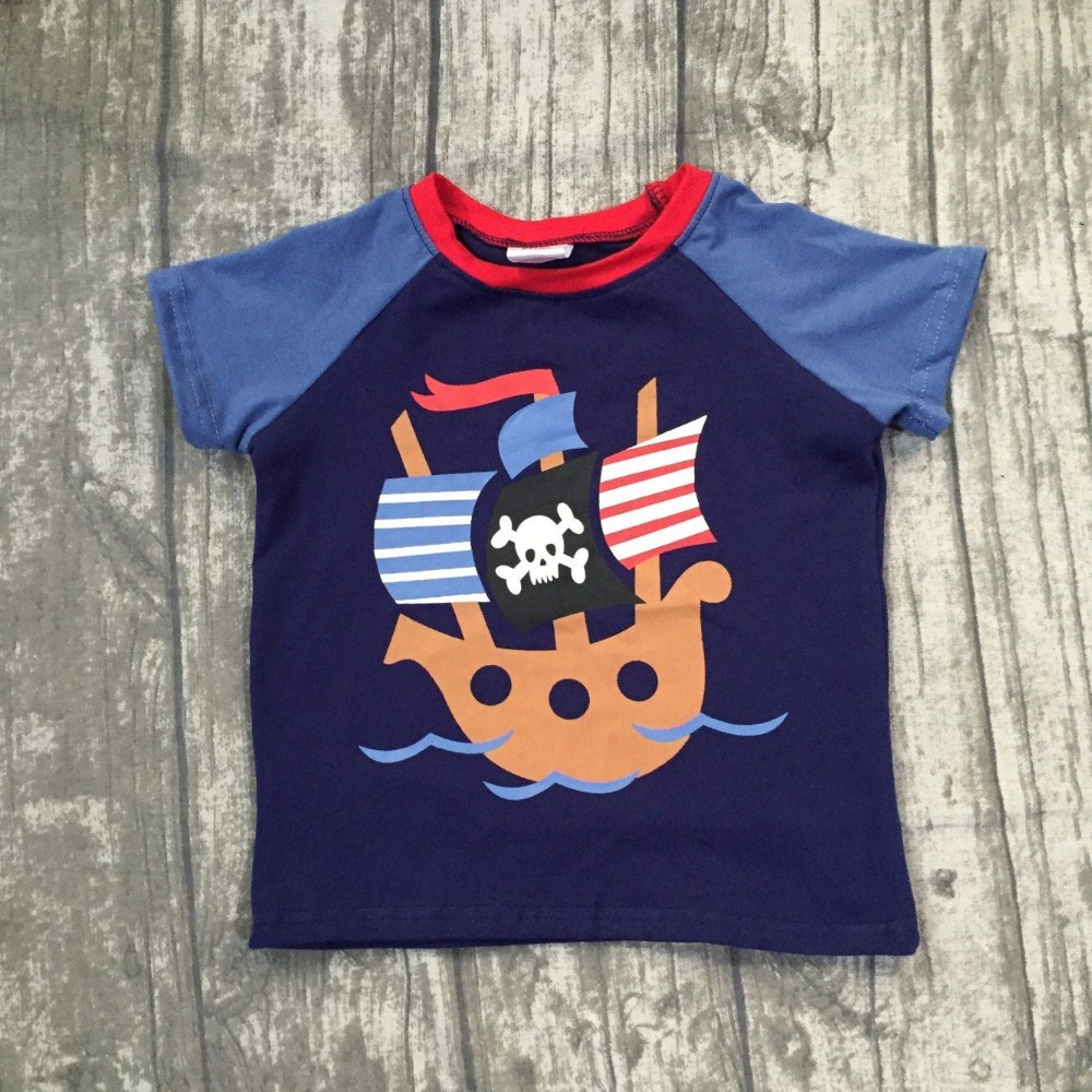 2018 new Summer short sleeve top boutique outfits boy kids cotton raglan t-shirt pirate boat Denim Blue navy clothing available