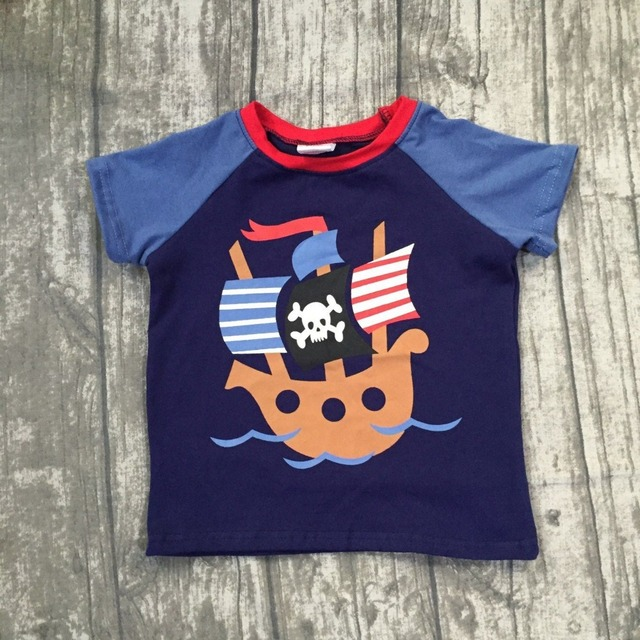 b6612d02ecce 2018 new Summer short sleeve top boutique outfits boy kids cotton raglan t- shirt pirate boat Denim Blue navy clothing available
