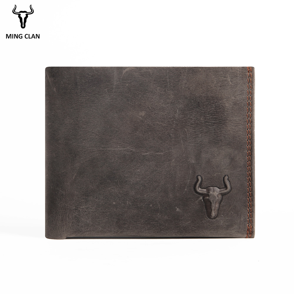 Mingclan Crazy Horse Short Men Genuine Leather Wallets Male Porte Carte Card Holder Wallet Rfid Blocking Pocket Purse Leather men wallet genuine leather long size crazy horse cowhide leather male clutch coin purse card holder wallet