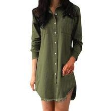 Зимние Для женщин платья Твердые Кнопка Для женщин s деним с длинным  рукавом свободные карманы на 609dde4a50dd1