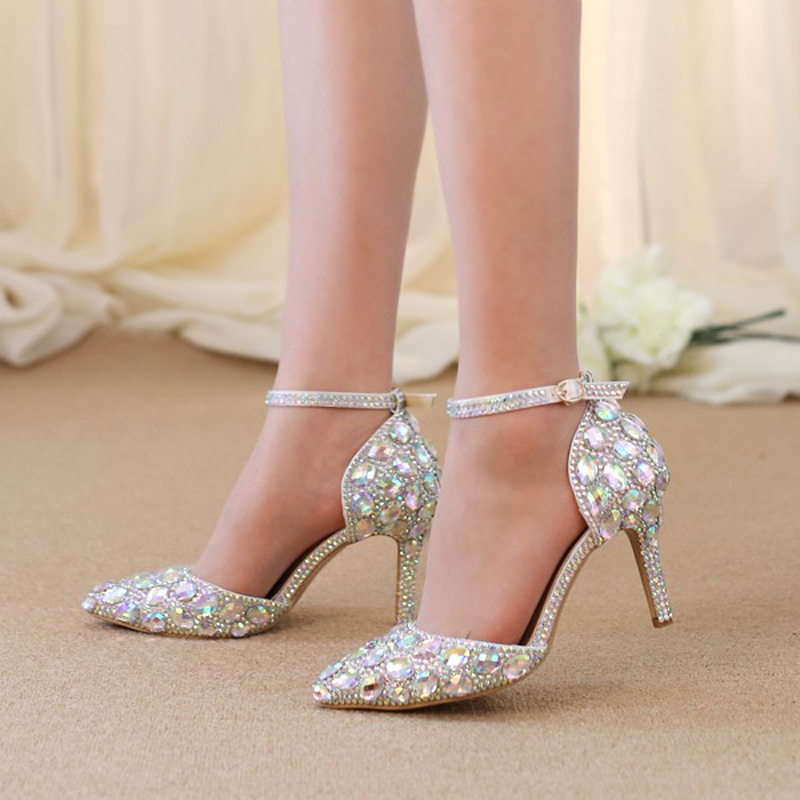 Pointed Toe Rhinestone Shoes Summer Sandals Ankle Straps Lady Kitten Heel Shoes AB Crystal Wedding Party Shoes Banquet Pumps 2016 new fashion wedding shoes for lady pointed toe pink multi crystal party dresses shoes rhinestone high heel single shoes