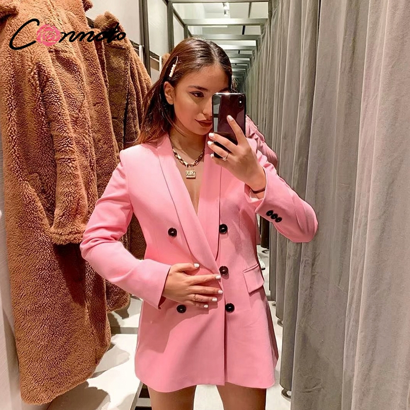Conmoto Fashion High Street Pink Blazer Pants Suit Women 2019 Summer Long Sleeve Pockets Blazer Casual High Waist Long Pants