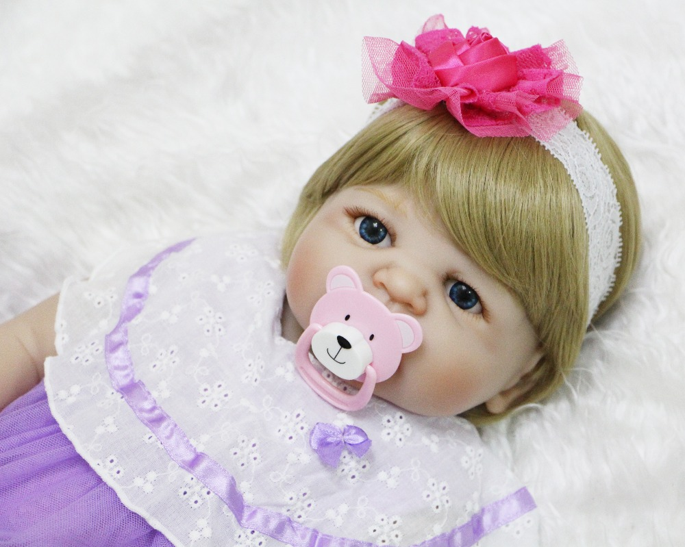 22 Full body silicone reborn baby dolls Blond hair wig magnetic pacifier bebe princess reborn bonecas girls toys gift  22 Full body silicone reborn baby dolls Blond hair wig magnetic pacifier bebe princess reborn bonecas girls toys gift