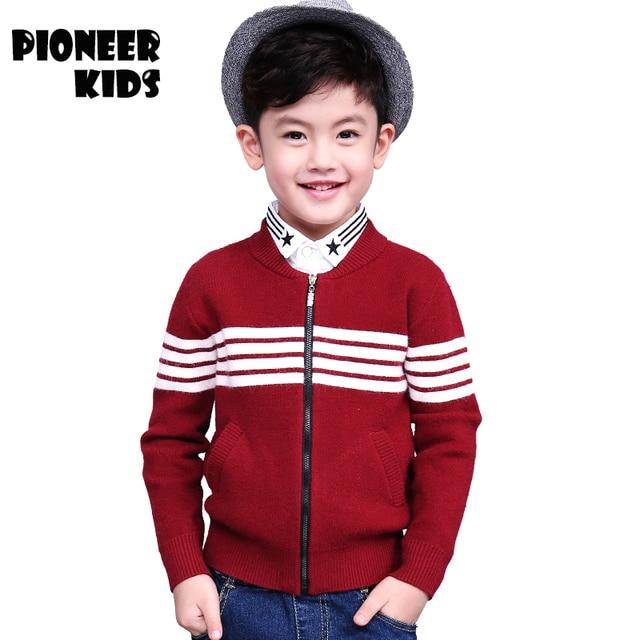 Pioneer Дети Осень \ Зима мальчики верхняя одежда Повседневная Вязать Молнии Sweatercoat Мальчик Водолазка Свитера вязать узором детские кардиган