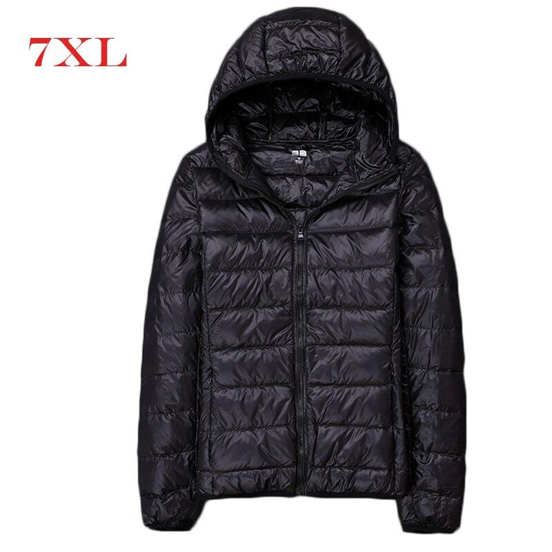 2019 New Ultra Light Duck Down Jackets Women Hooded Winter Coat Long Sleeve Warm Slim 7XL Plus Size Jacket Lady Clothing