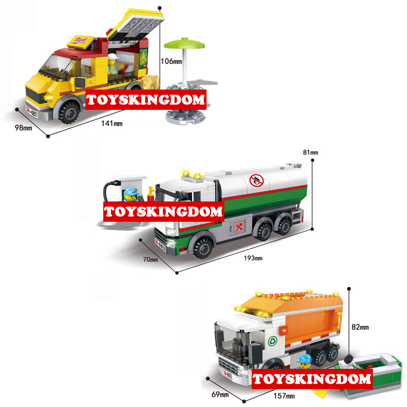 Hot city Vehicle Pizza takeout Fuel tank car Garbage truck building block driver Cleaner figures bricks educational toys for kid