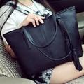 New Large Capacity Bag Women Leather Tassel Tote Retro 2016 Fashion Women Hand Bag