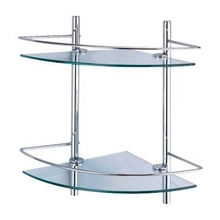 Полочка для ванны угловая WasserKRAFT K-3122 (Металл, хромоникелевое покрытие, уплотнительные пластиковые кольца, закаленное матовое стекло)