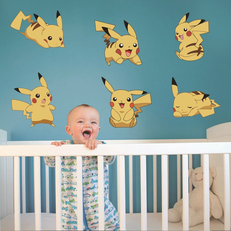 % Cartoon Pikachu Pokemon Go Wall Stickers For Kids Rooms Wall Decals Poster Room Decoration Poster Nursery Kids Room Decals