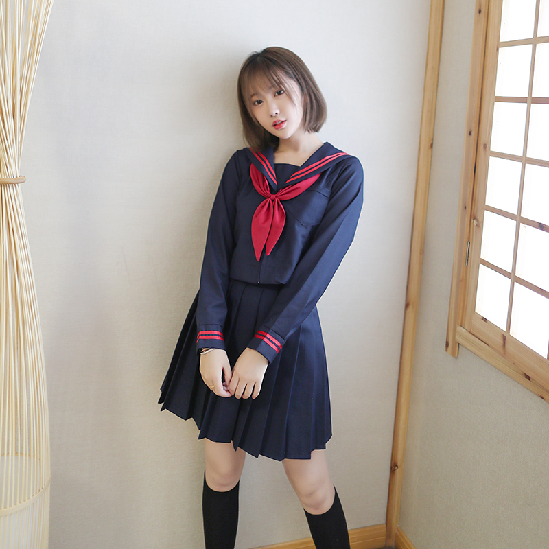 2019 New Japanese School Uniform Girls School Class Navy Sailor School Uniforms Hell Girl Enma Ai Anime Cosplay Girls Suit