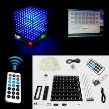Regalo de navidad 3D 8 S mini cubeeds Luz LED DIY KIT de control remoto con Efectos de animación/3D8 8x8x8 Juegos/Junior, En la acción!