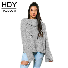 HDY Haoduoyi Fashion Knitted Tops Women Long Sleeve Female Pullover Vintage High Low Loose Casual Ladies Sweater