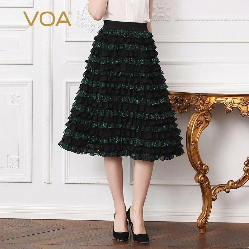 VOA Heavy Silk Plus Size 5XL Skirts Women Green Ruffle High Waist A Line Princess Midi Skirt Sweet Cute Casual CLA03201
