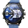 Мужские повседневные спортивные часы Oulm  кварцевые часы с большим циферблатом и кожаным ремешком  модные наручные часы