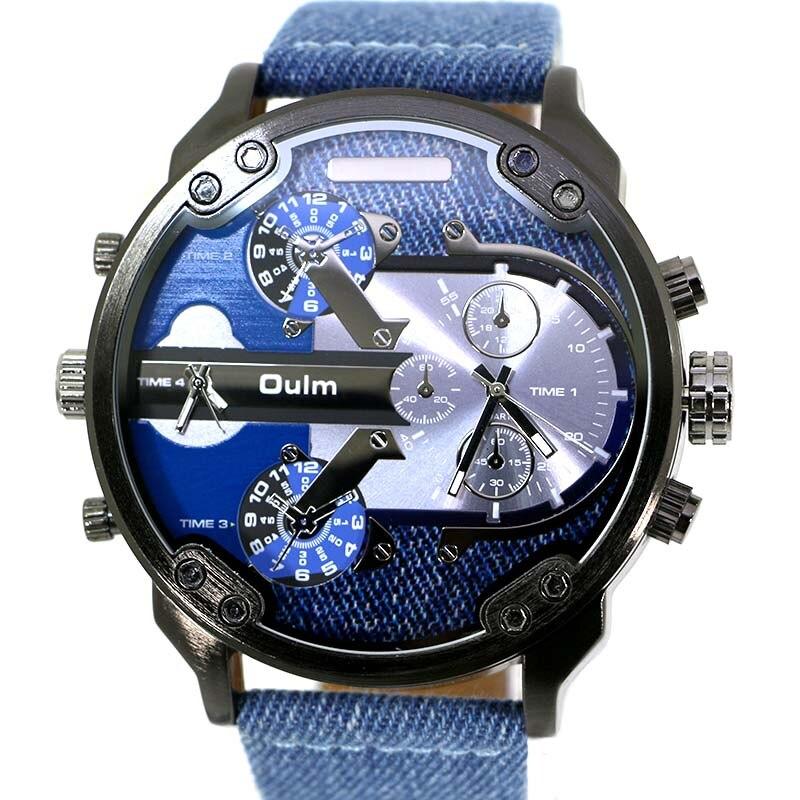Oulm Brand Men's Fashion Casual Sport Watches Men Big Dial Quartz Watch Leather Male Fashion Wristwatch Clock Relogio Masculino