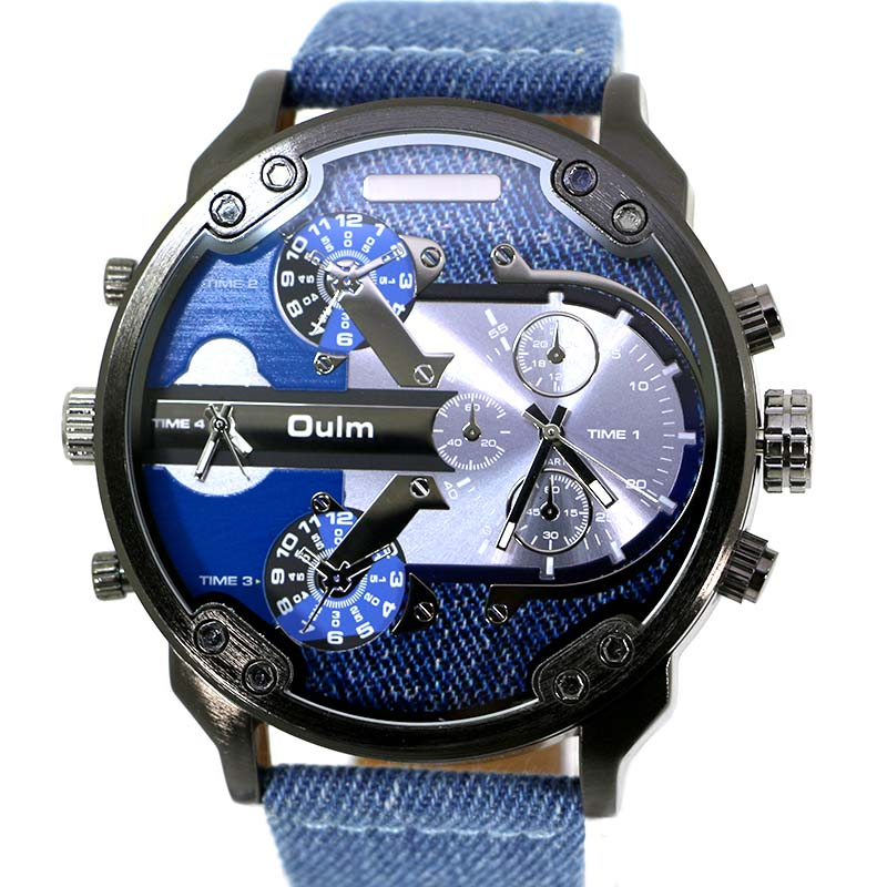 Oulm Brand Men's Fashion Casual Sport Watches Men Big Dial Quartz Watch Leather Male Fashion Wristwatch Clock Relogio Masculino