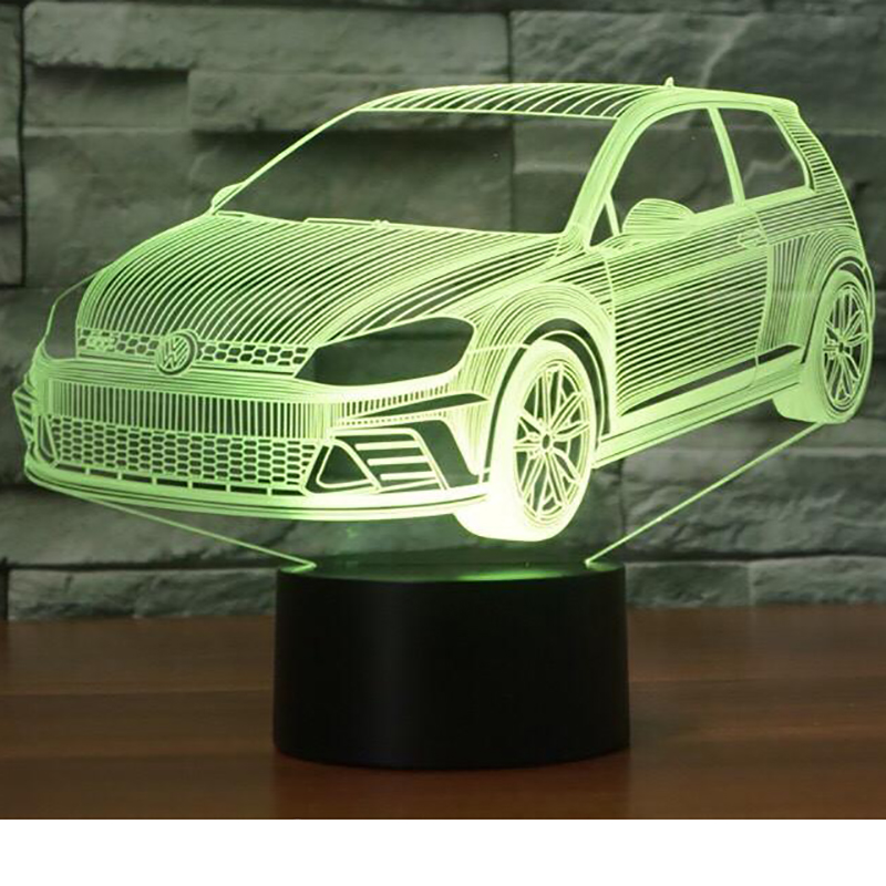 Colorful Night Light Vision 3D LED Novelty Car Modelling Christmas Gifts Vehicle Shape Table Lamp Creative Bedside Light Fixture
