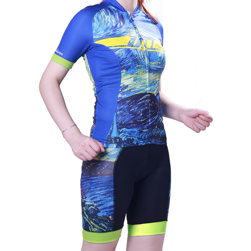 Blue Universe Womens Cycling Jersey Set Racing Cycling Clothing Bike Shirt Motocross Jersey SportsWear Cycling Jersey Blouse