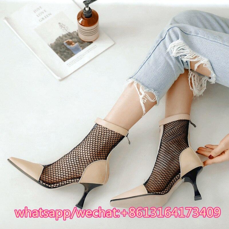 Sandalias Botas Pic Zapatos As Pointy Gladiador Toe Net Mujer Sexy Patchwork Cremallera Cremalleras 40 Tobillo Mujeres Pic De Verano as Estilete Calcetines qfx8B