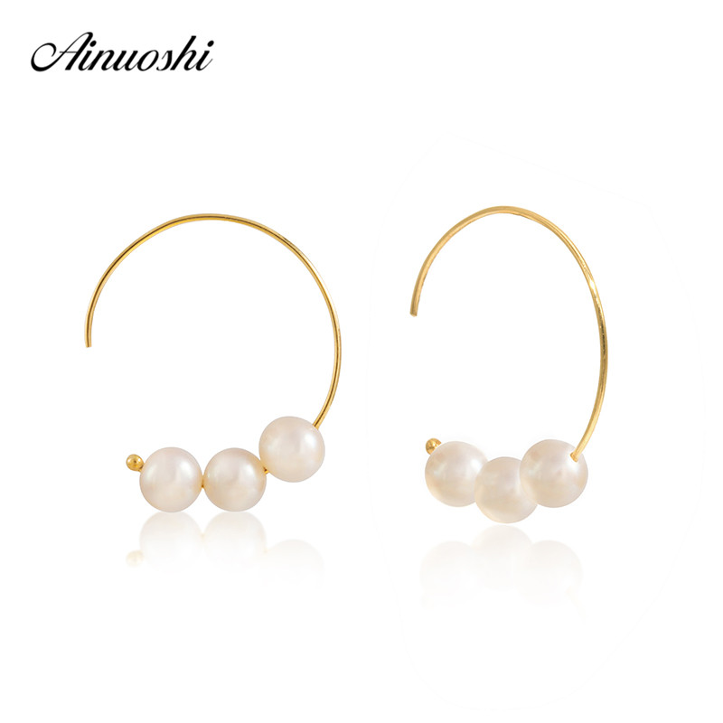 AINUOSHI Natural Freshwater Hook Pearl Earrings 18K Solid Yellow Gold Women White Pearl Earrings Circle Pearl Moon Tooth Jewelry faux pearl metal circle drop earrings