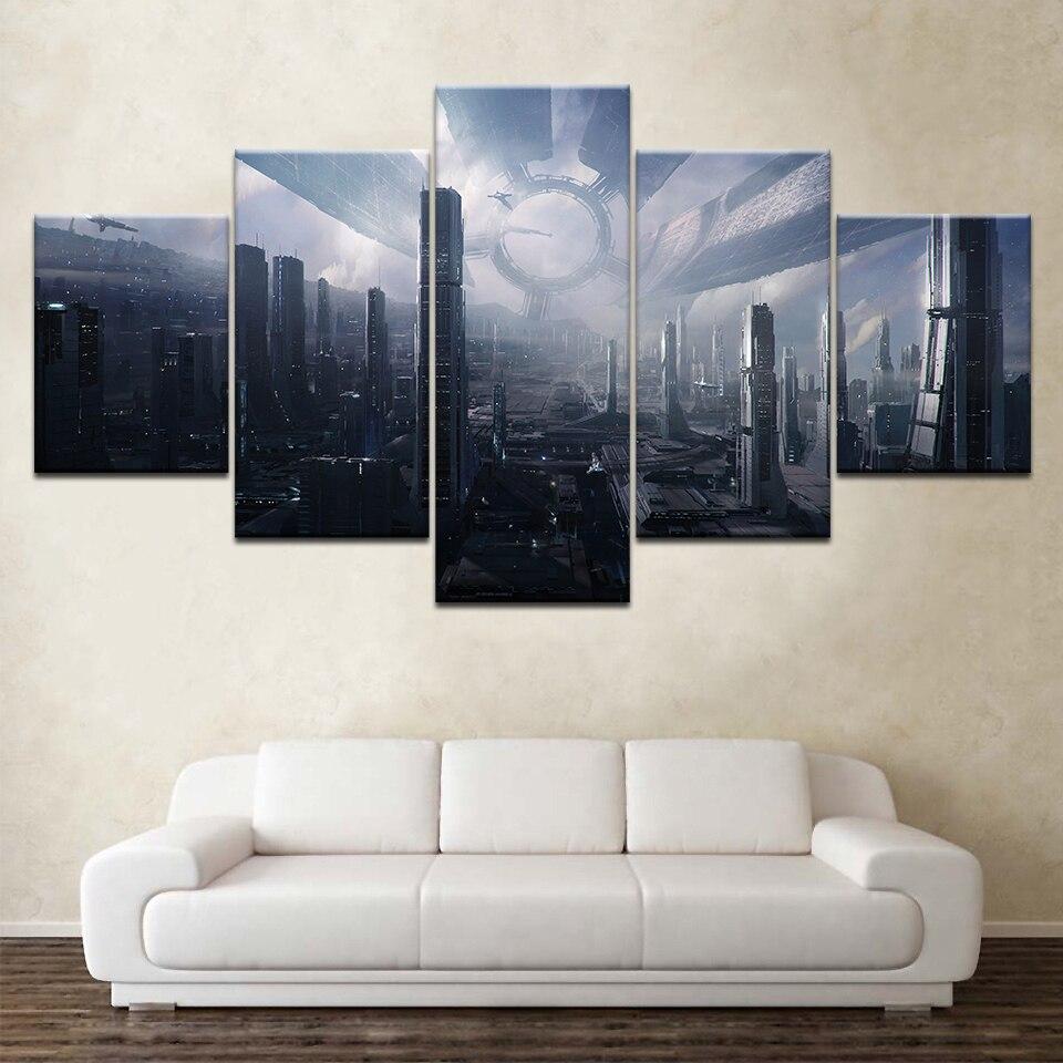 Citadel Mass Effect 5 Piece Wallpapers Modern Modular Poster Art