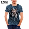 FORUDESIGNS Mens 3D Cute Pet Cat Printing Clothes T Shirt Hip-hop Dancing Top Tees Short Sleeve Funny Men O-neck T-Shirt S-XXL