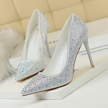 BIGTREE Women Pumps Sexy Rhinestone Sequined Cloth Slim 10cm Thin High Heels Wedding Shoes Party Nightclub Pump