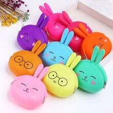 Милый кролик, силиконовый кошелек для монет, для женщин, карамельный цвет, мультяшный кролик, набор ключей, мягкий хлопок, сумка для монет, чехол, кошелек для девочек, кавайный подарок для детей