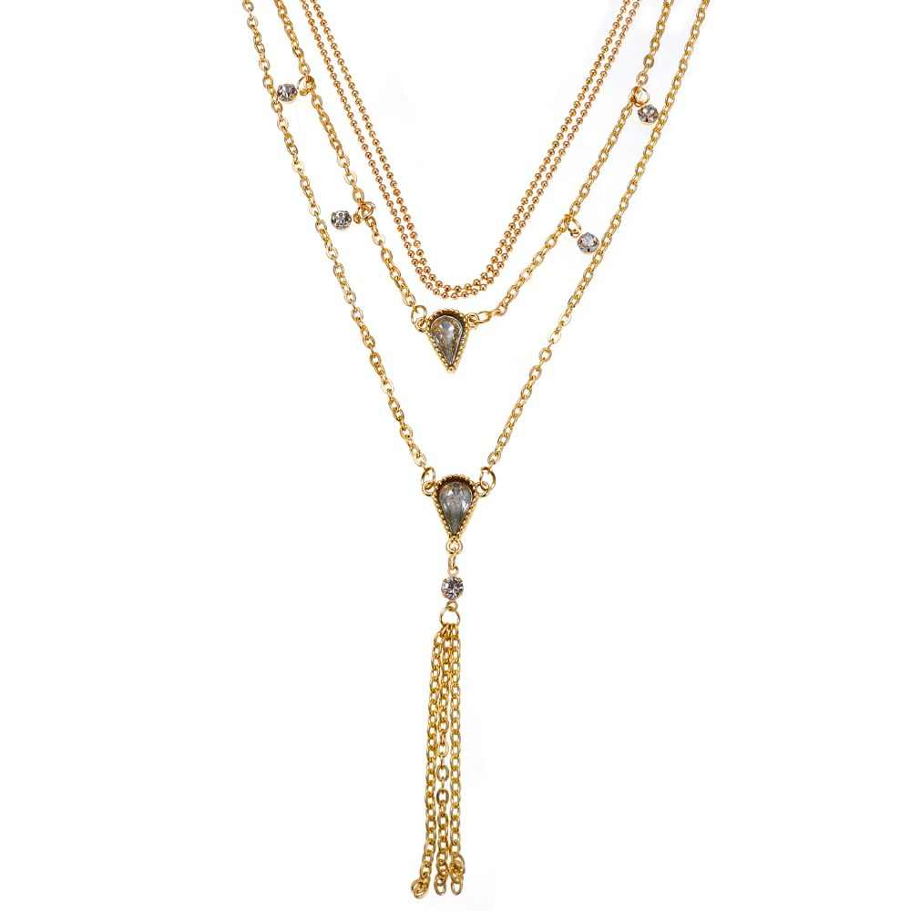 DIEZI בציר Multilayers זהב שרשרת שרשרת לנשים האופנה פאנק ריינסטון טאסל הצהרת שרשרת עבור בנות תכשיטים