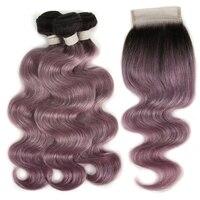 Joedir бразильские виргинские волосы объемная волна с закрытием натуральные волосы плетение пучков с кружевной застежкой фиолетовые Омбре пу