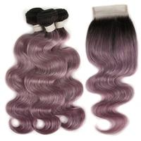 Joedir бразильские виргинские волосы объемная волна с закрытием человеческих волос Плетение Пучков с кружевной застежкой фиолетовый пучки во