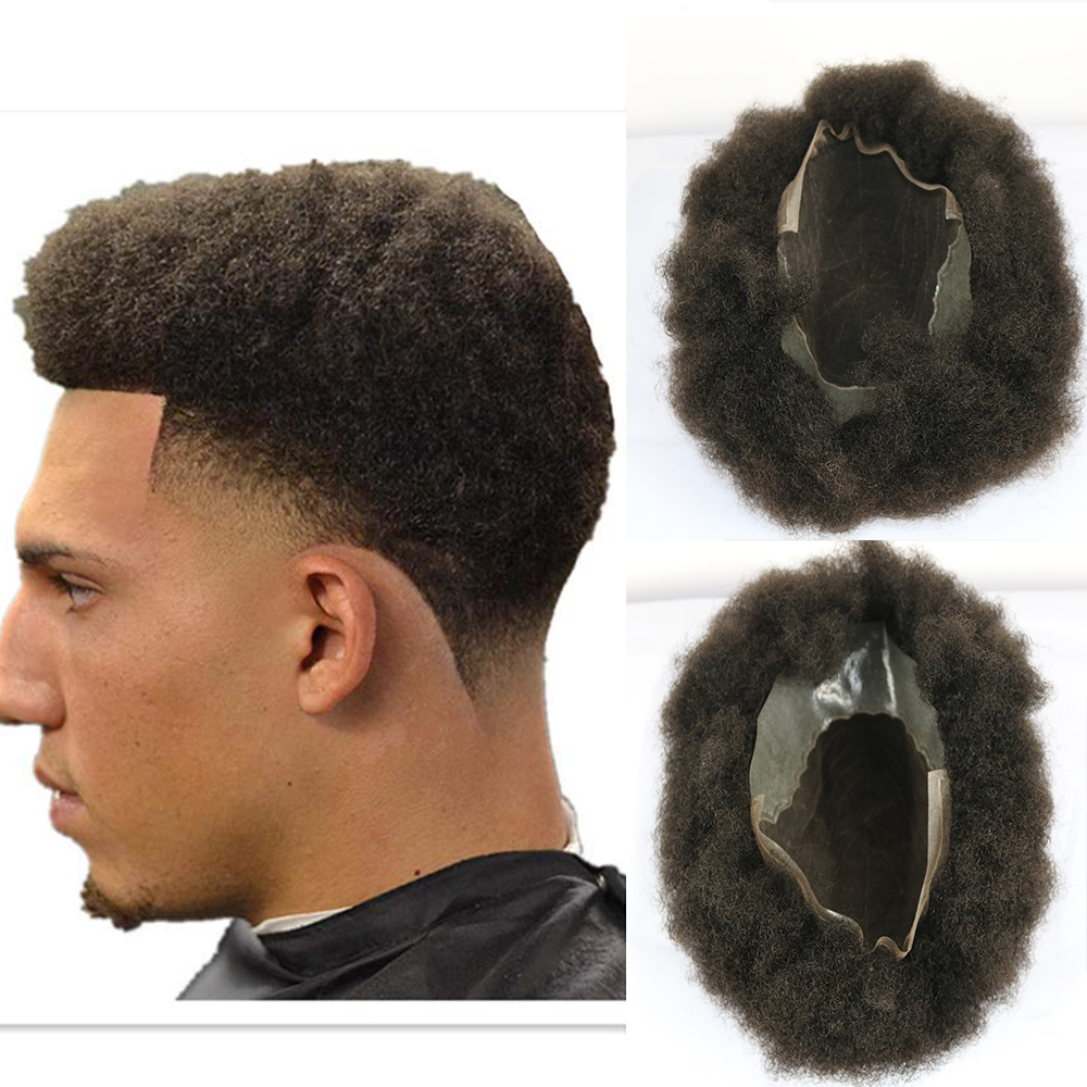 Q6 Base Afro Toupee Human Hair Piece Men's Replacement System With PU Thin Skin Around For Black Men 10 * 8