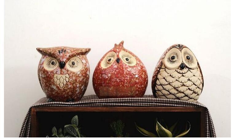 3PCS/LOT Ceramic Owl Piggy Bank Home Decoration household Furnishing  articles(China (Mainland