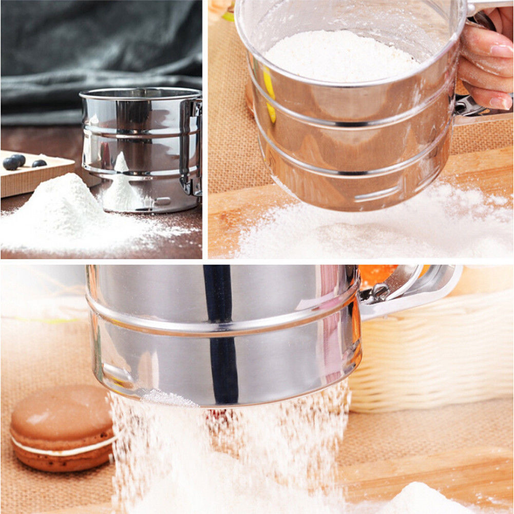 Metal Flour Sifter Sieve Filter Baking Icing Sugar Strainer with Scale