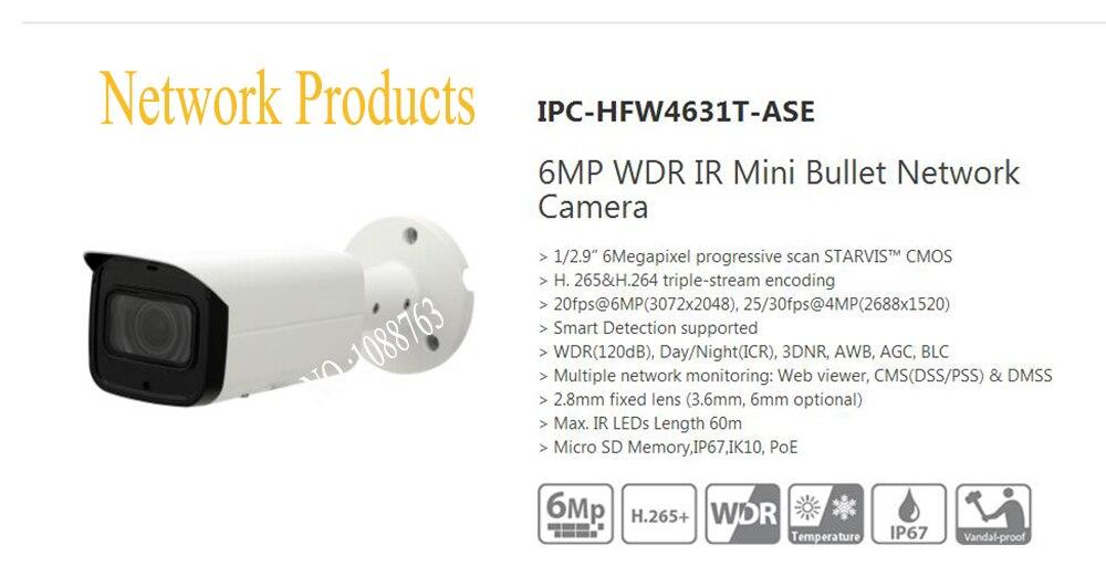 Free Shipping DAHUA Surveillance CCTV Camera 6MP WDR IR Mini Bullet Network Camera IP67 With POE Without Logo IPC-HFW4631T-ASE free shipping dahua video camera 8mp wdr ir mini bullet network camera ip67 ik10 with poe without logo ipc hfw4831t ase