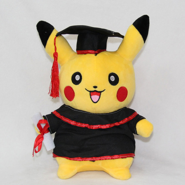 Hot Sale New Pokemon Pikachu 27cm/11inch Cosplay Stuffed Dolls Cute Pikachu Graduate Gift Plush Toys Free Shipping