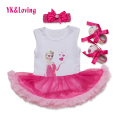 Pink Infant Princess Dress Sleeveless Romper + Headband + Shoes 3 Pcs/set 2017 Summer Cotton Newborn Girl Clothes Set Yi