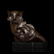 l Bronze owl   Statue Vintage Brass animal  Sculptures With Marble Base  Figurine holiday figurines DW-073