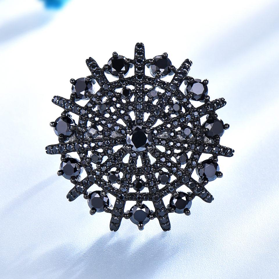 UMCHO Gemstone Təbii Qara Spinel Üzük Qadın Bərk 925 Sterling - Gözəl zərgərlik - Fotoqrafiya 2