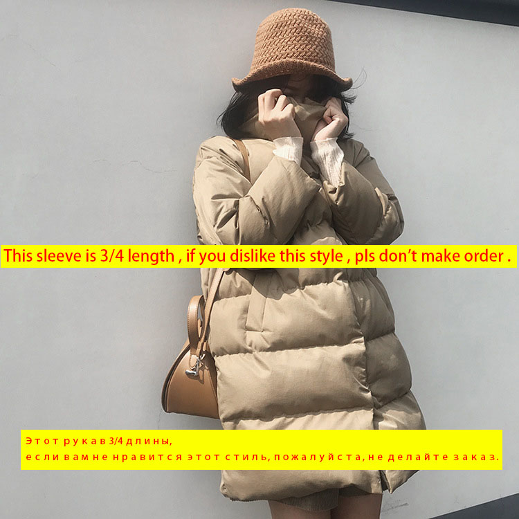 Image 2 - Mooirue 2019 Winter Harajuku Streetwear Overcoat long coat Woman Love Long Down Cotton 3/4 Sleeve New Bodycon Cotton parka-in Parkas from Women's Clothing